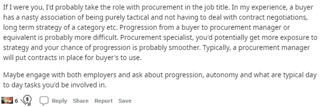 take a job with procurement labeled in the title as they get more exposure and a chance at more progression.